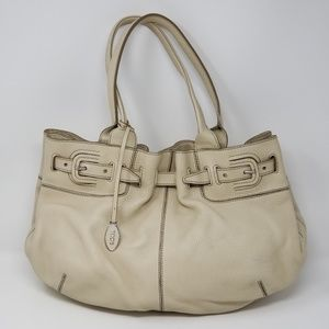 Tod's Cream Leather Shoulder Purse Handbag